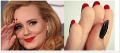 la flip manucure inspiration Louboutin sur les ongles de la chanteuse Adèle.
