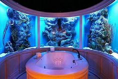 Bathroom fish aquarium