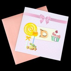 Check out this wonderful #card designed by hand, which can be #personalized to your requirements. The first letter of your #baby's #name will embellish the front of the card. Perfect for #parties, #baby #showers, #christenings, #announcements for girls.Pack of 10 £25.40