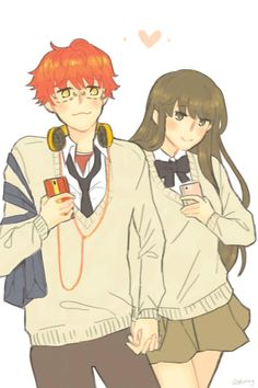 707 x mc Messenger Games, Mystic Messenger Comic, Anime Couples, Cute Couples, 707 X Mc, Jumin X Mc, Saeyoung Choi, Saeran, Illustrations