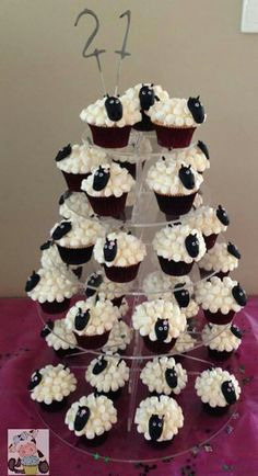 Sheep cupcake tower