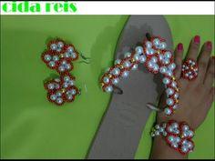 chinelo bordado com flor de pérolas e acessórios combinando - YouTube