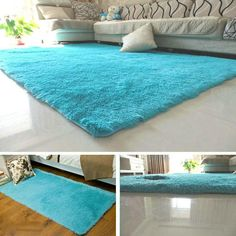Us 967 32 Offfluffy Rugs Anti Skiding Shaggy Area Rug Dining Rooms Carpet Floor Mats Blue Shaggy Rugs Shag Rugs In Carpet From Home Garden inside