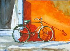 Technique Sufficient to Expression - how artists today paint to produce a product and why it should be different. (painting by Ramesh Jhawar) Bicycle Painting, Bicycle Art, Bicycle Illustration, Cycling Art, Art Pictures, Art Pics, Indian Art, Artist Art, Watercolor Paintings