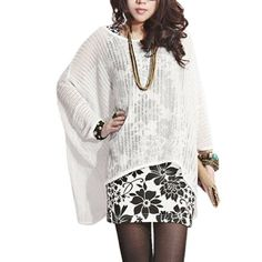Lady Welt Hem See Through Meshy Stretchy Loose Pullover Blouse White  $11.53