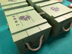 Ammo box with Military insignia Army Birthday Parties, Army's Birthday, Wood Crates, Wooden Boxes, Military Branches, Military Insignia, Gun Cases, Diy Projects, Project Ideas