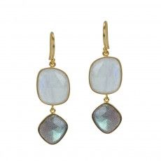 Mystery Moon Earrings - combos=moonstone/labradorite, pyrite/rough ruby, turq/lapis