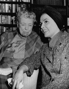 """""""Lena Horne and Eleanor Roosevelt in Mrs. Roosevelt's Manhattan apartment prior to their appearance on 'The Frank Sinatra Timex Show' on January 26, 1960. Ms. Horne worked with the former first lady to pass anti-lynching legislation. Photo via Bettman/Corbis."""""""