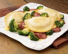 Pierogies Polish Sausage Vegetable Skillet | Pierogies Polish Sausage Vegetable Skillet Recipe - A hearty skillet meal in minutes! Feast on yummy sausage and pasta stuffed with a classic filling of creamy mashed potatoes and white cheddar cheese.  #Schwans #EasyRecipes #Inspiration