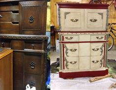 Redone dresser with Annie Sloan paint and some creativity.  Not bad for my first attempt.