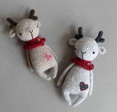 Doudou renne au crochet d'après Little_owlet par Lulu Compotine - Amigurumi Crochet Deer, Crochet Baby Toys, Crochet Amigurumi, Cute Crochet, Amigurumi Doll, Crochet Dolls, Animal Knitting Patterns, Christmas Knitting Patterns, Crochet Patterns Amigurumi