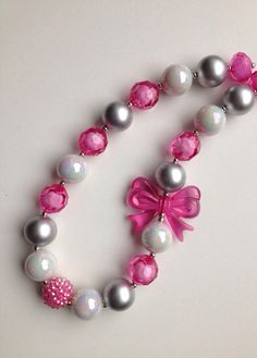 Valentines Chunky necklace ..chunky bead necklace by GirlzNGlitter, $16.50 Space Jewelry, Kids Jewelry, Jewelry Crafts, Jewelry Making, Unique Jewelry, Kids Necklace, Girls Necklaces, Beaded Necklace, Beaded Bracelets