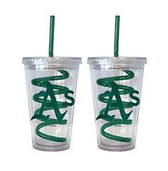 Boelter Brands MLB® Oakland Athletics 2-Pack Swirl Straw Tumbler Glasses