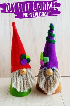 EASY GNOME CRAFT FOR KIDS – DIY Tricks for Kids These easy gnomes make cute stand-alone crafts, or can be used in a shoebox theatre to tell a story. You could also string a loop of thread through the top and turn them into ornaments! Easy Yarn Crafts, Yarn Crafts For Kids, Winter Crafts For Kids, Diy For Kids, Fun Crafts, Crafts With Felt, No Sew Crafts, Magic Crafts, Winter Kids