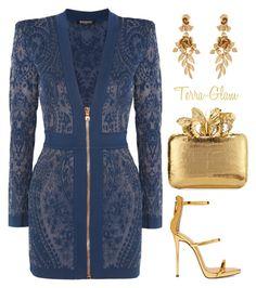 Make A Scene by terra-glam on Polyvore featuring polyvore fashion style Balmain Giuseppe Zanotti Nancy Gonzalez Oscar de la Renta clothing