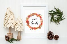 Give Thanks Fall Leaves Thanksgiving Printable Sign, Give Thanks Leaf Wreath Printable Digital Wall Art Template, Instant Download, 8x10