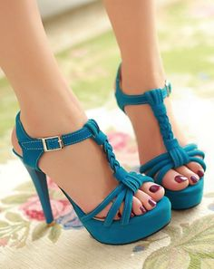 Blue high heel sandals