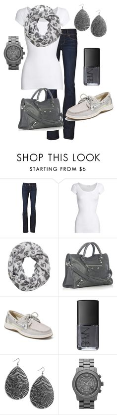 """Casual"" by honeybee20 ❤ liked on Polyvore featuring Paige Denim, American Vintage, Just Female, Balenciaga, Sperry, NARS Cosmetics, Wet Seal and MICHAEL Michael Kors"