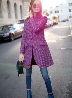 Inspiration Look - LoLoBu - fall street fashion and cute printed coat with skinny denims