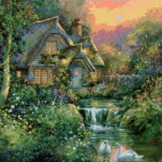 Cross Stitch Pattern Victorian English Cottage - PDF Instant Download! by PenumbraCharts on Etsy