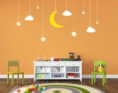 Nursery Decor Hanging Stars and Moon Decal Space Decal Vinyl Wall Decal Wall Decor Lights, Kids Wall Decor, Room Decor, Nursery Wall Decals, Vinyl Wall Decals, Wall Stickers, Space Themed Nursery, Hanging Stars, Wallpaper Decor