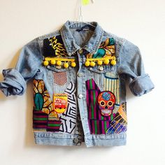Kids Denim Jacket Toddler Upcycled with African by MINIMAGPIEKIDS