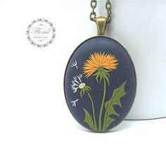 Dandelion Necklace, Nature Jewelry, Dandelion Jewelry, Wish Necklace, Statement Necklace, Tribal Necklace, Tribal Jewelry FEDEX priority shipping takes: 2-3 WORKDAYS !!! !!! !!! ( USA). This is a boho style, handmade, polymer clay pendant with dandelion flower motifs. This