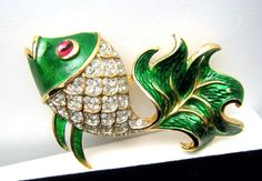 Late 60''s to Early 70's Figural Fish with Pave Set Rhinestones