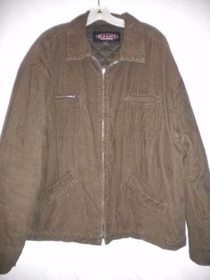 Old Navy Size XL Brownish Olive Quilted Lining Zipper Front Mens Corduroy Jacket #OldNavy #Jacket