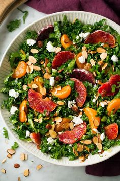 A bright, citrusy salad that's loaded with goodness and served with an Orange-White Balsamic Vinaigrette. Includes kale, almonds, goat cheese and oranges.