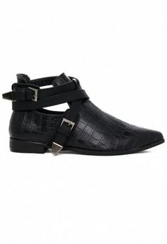 Pointed Cut Out Buckle Boots