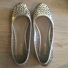 Kenneth Cole Reaction gold flats, size 6.5 Kenneth Cole Reaction gold flats, size 6.5, worn around house only Kenneth Cole Reaction Shoes Flats & Loafers