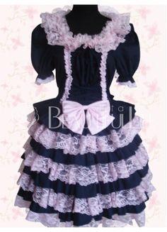 $233.99  Deep Blue And Pink Cotton Short Sleeves Punk Lolita Dress