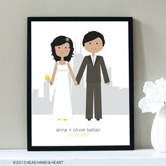 Custom Portrait, City Wedding Illustration with Skyline Silhouette - Personalized, Skyline, Wedding Portrait, Chicago by Head Hand & Heart