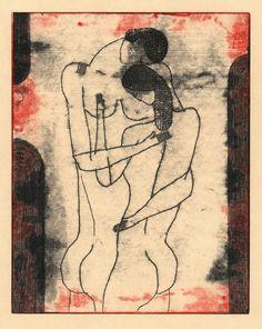 "nearlya: "" Richard Downs. Couple #178, monotype, 2011 """