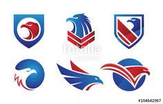 Wektor: Hand Pick Eagle Logo Elements Set