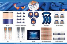 Nerf Party - INSTANT DOWNLOAD - Printable Birthday Party Decorations - Full Set - Blue Orange