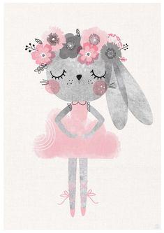 Set of Baby Bunny Ballerina, Nursery Art, Girls Room, Ballerina Room, Children .