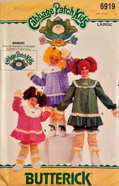 Vintage CABBAGE PATCH KIDS Sewing Pattern - Halloween Costume Dress Bloomers Wig & Iron-on Transfers