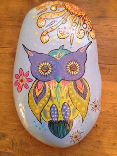 BoHo Owl Hand Painted Stone by BoHoExpressions on Etsy