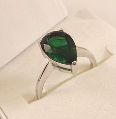 Ladies Russian Formula Emerald CZ Sterling Silver Ring Size 7 Free Gift Box