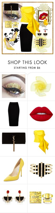 """Untitled #9"" by mirka2011 ❤ liked on Polyvore featuring Silent Night, River Island, Lime Crime, Yves Saint Laurent, Rubin Singer, Jimmy Choo, Noir Jewelry, Lalique and Versace"