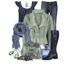 "lovely green jacket.  ""Green & Blue"" by stylesbyjoey on Polyvore"