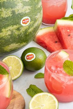 It's the #FirstDayofSummer! You're definitely going to want to put a pin in this tasty Minted Watermelon Spritz! #SummerCocktail #HappyHour #FruitDrinks #DrinkRecipes Fruit Drinks, Beverages, Funky Fruit, First Day Of Summer, Summer Cocktails, Happy Hour, Watermelon, Mint, Tasty