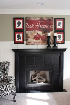 how to : fireplace remodel. I really like the all black fireplace. But those accessories are horrid.