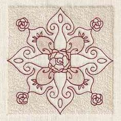 trapunto rose block embroidery design