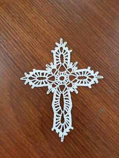 Crochet Cross Ornament The price is for ONE CROCHET CROSS. The Crochet Cross measures approximately by 5 inches Christmas Crochet Patterns, Crochet Christmas Ornaments, Crochet Snowflakes, Crochet Blanket Patterns, Crochet Angels, Crochet Cross, Thread Crochet, Diy Crochet, Yarn Crafts