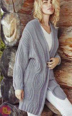 Wavy Thessaloniki Cardigan Execution, # Women's Models - Diy And Craft Knitted Poncho, Knit Cardigan, Jumper, Cardigan Sweaters For Women, Cardigans For Women, Hooded Scarf, Knitwear Fashion, Thessaloniki, Knit Jacket