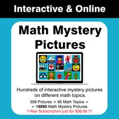 Hundreds of interactive Color By Number Mystery Pictures on different Math topics.Your students will have fun answering questions to reveal a mystery picture! Absolute Value, Number Patterns, Order Of Operations, Math Worksheets, Teaching Resources, Have Fun, Mystery, This Or That Questions, Learning