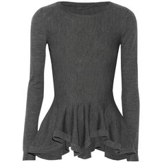 Wool peplum sweater (4.490 RON) ❤ liked on Polyvore featuring tops, sweaters, shirts, alexander mcqueen, alexander mcqueen tops, woolen shirts, alexander mcqueen shirt and wool shirt